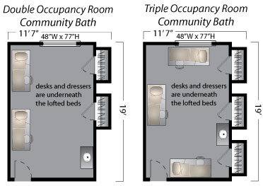 floor plans for double and triple rooms