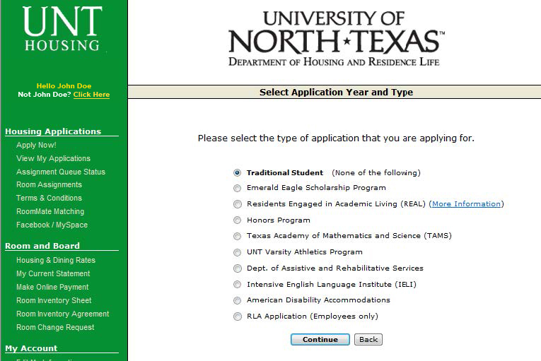 Select application year and student type